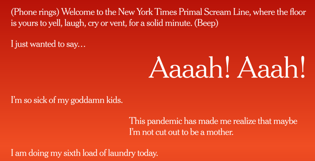 The New York Times Primal Scream Line shows that America's Mothers are in Crisis
